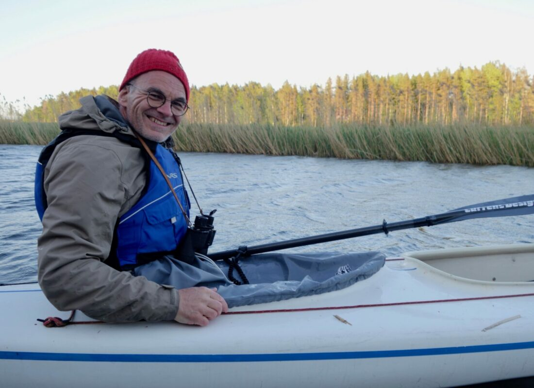 Navigating officer in double kayak